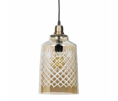 BePureHome Lampe suspendue graver grand laiton antique verre doré 19x33cm