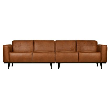 BePureHome Bank Statement 4-seat cognac brown eco leather 280x93x77cm