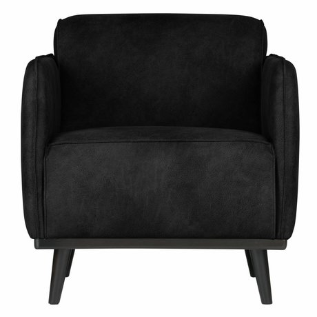 BePureHome Armchair Statement black suede leather 72x93x77cm