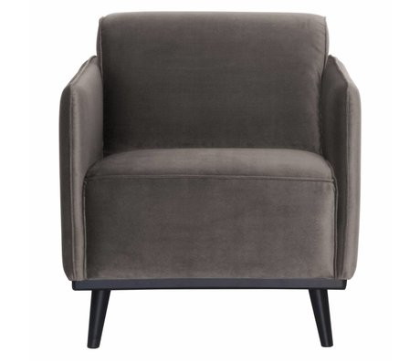 BePureHome Fauteuil Statement taupe brown velvet 72x93x77cm