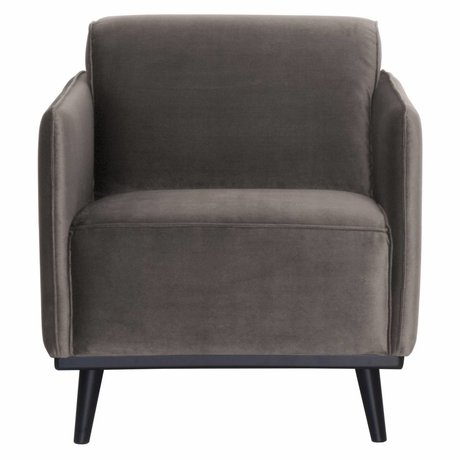 BePureHome Fauteuil Statement velours marron taupe 72x93x77cm
