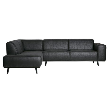 BePureHome Corner sofa Statement link black suede leather 74x210x77cm
