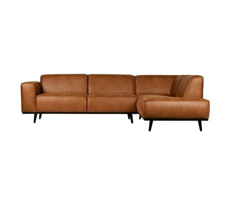 BePureHome Canapé d'angle Statement droit cuir éco marron cognac 74x210x77cm