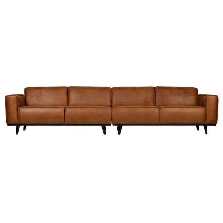BePureHome Bank Statement XL 4-seater cognac brown eco leather 372x93x77cm