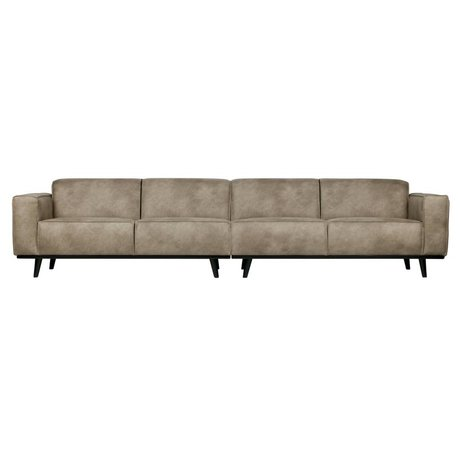 BePureHome Bank Statement XL 4-seater elephant skin gray leather 372x93x77cm