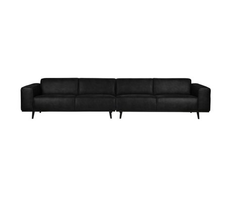 BePureHome Bank Statement XL 4-seater black suede leather 372x93x77cm