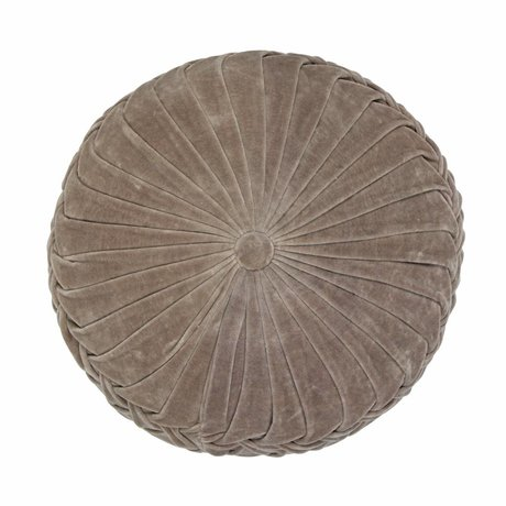 WOOOD Cushion Myro taupe velvet Ø40cm