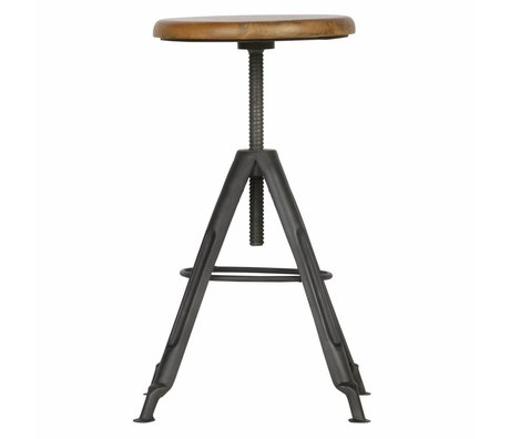 LEF collections Stool Brenna brown wood metal 38x38x47-72cm