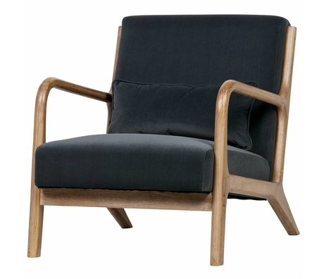 LEF collections Armchair Mark anthracite gray velvet 67x82x75cm