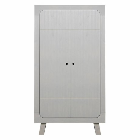 LEF collections Armoire Sammie 2 portes pin gris chaud 110x55x200cm