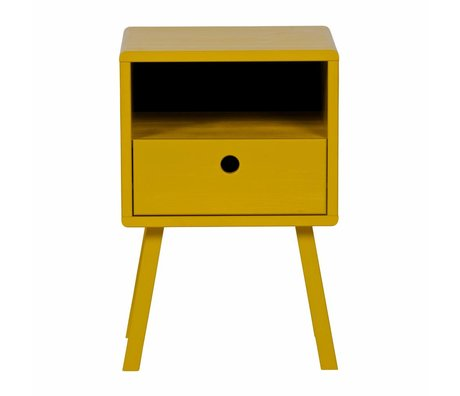 LEF collections Table de chevet sammie moutarde jaune pin 33x31x53cm