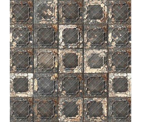 NLXL-Merci Papier peint en carreaux Brooklyn Tins noir / blanc / rouille Tin-07 numéro de lot 181212