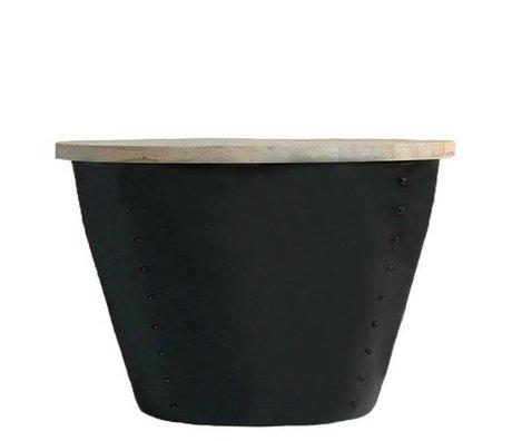 LEF collections Bijzettafel Indi bruin zwart hout metaal set van twee maten schade
