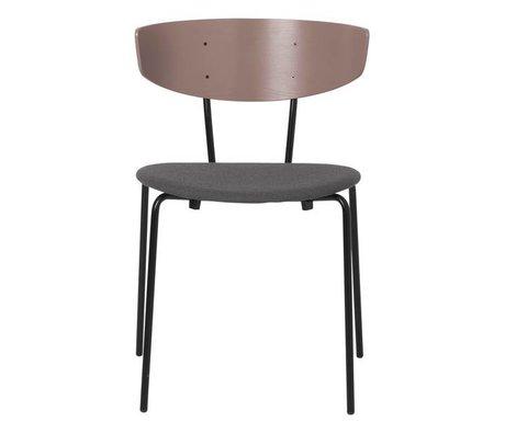 Ferm Living Chaise de salle à manger Herman rembourrée vieux tissu textile gris rose gris gris métal 50x47x74cm