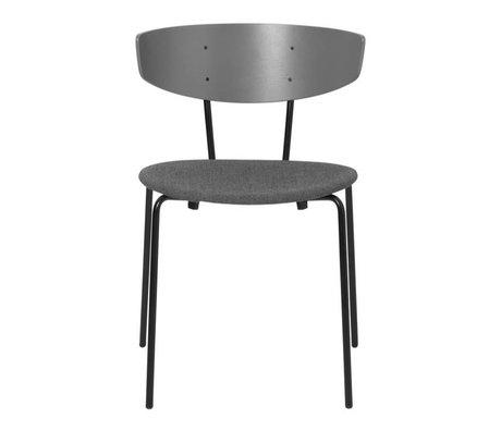 Ferm Living Chaise de salle à manger Herman rembourrée textile gris tissu bois 50x47x74cm