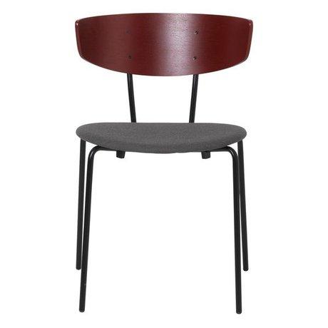 Ferm Living Chaise de salle à manger Herman rembourrée rouge gris textile bois métal 50x47x74cm