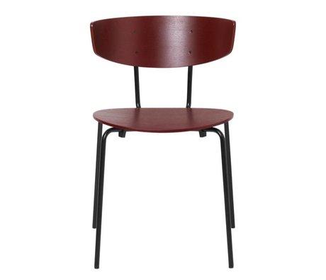 Ferm Living Chaise de salle à manger Herman rouge bois brun métal 50x47x74cm