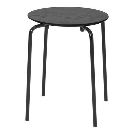 Ferm Living Hocker Herman schwarz Holz Metall 35,5x30,5x45cm