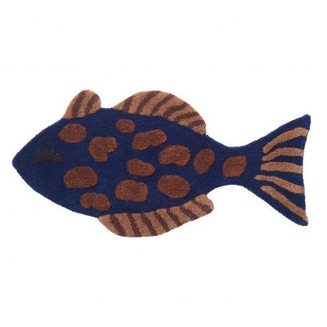 Ferm Living Tapis / revêtement mural Fish tufté en laine multicolore coton 38x78cm