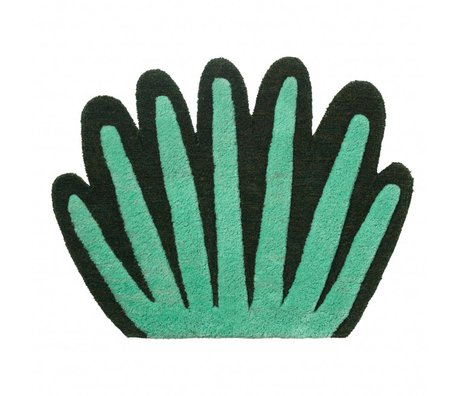 Ferm Living Teppich / Wandbespannung Coral Tufted grüne Wollbaumwolle 55x80cm