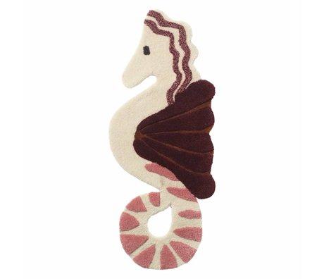 Ferm Living Tapis / housse murale Seahorse Coton de laine rose capitonné 86x34cm
