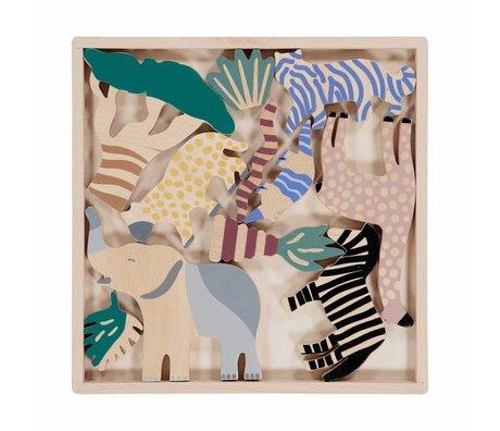 Ferm Living Wooden animals Safari Animal Box set of 12 multicolour wood 2,5x25x25cm