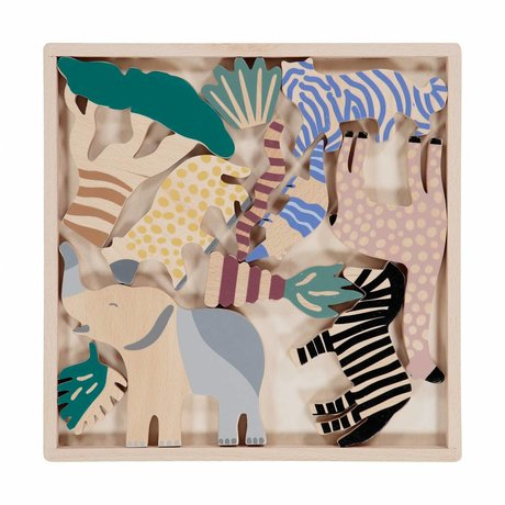 Ferm Living Houten dieren Safari Animal Box set of 12 multicolour hout 2,5x25x25cm