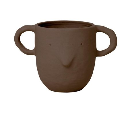 Ferm Living Bloempot Mus Plant Pot Large rood bruin aardewerk 10,5x18,5x12cm