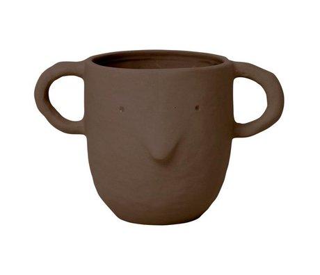 Ferm Living Pot à fleurs Sparrow Plant Pot Large en terre cuite brun rouge 10,5x18,5x12cm