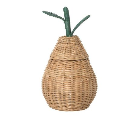 Ferm Living Storage basket Small Pear Braided Storage natural brown rattan 19x30cm