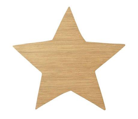 Ferm Living Wandlamp Star Oiled Oak naturel bruin hout 6,5x29,8x33cm