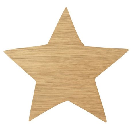 Ferm Living Wall lamp Star Oiled Oak natural brown wood 6,5x29,8x33cm