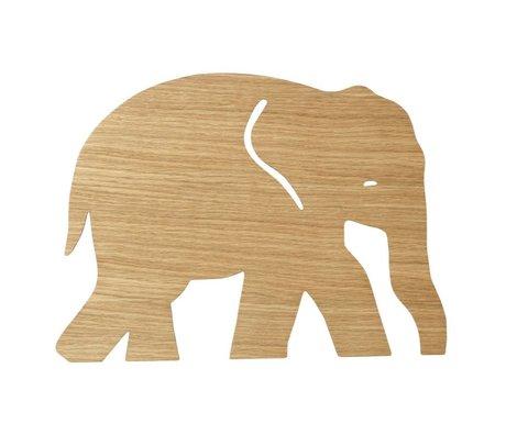 Ferm Living Wandlampe Elefant Geölt Eiche naturbraun Holz 6x35,4x26cm
