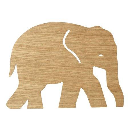 Ferm Living Applique Elephant Chêne huilé bois brun naturel 6x35,4x26cm