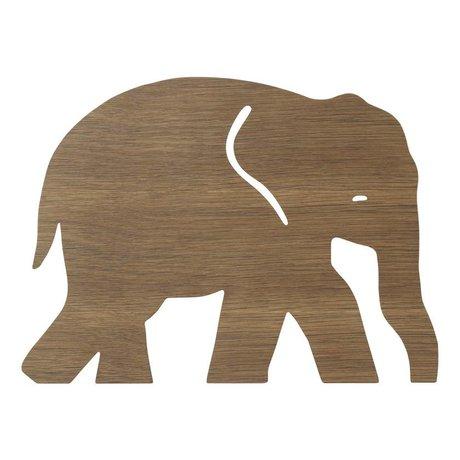 Ferm Living Applique Elephant Smoked Oak bois brun foncé 6x35,4x26cm