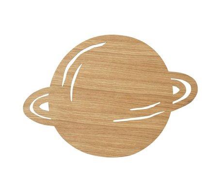 Ferm Living Wandlamp Planet Oiled Oak naturel bruin hout 6,5x39x28cm