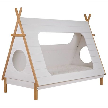 LEF collections Tipi Bett weiß Kiefer 106x215x163cm