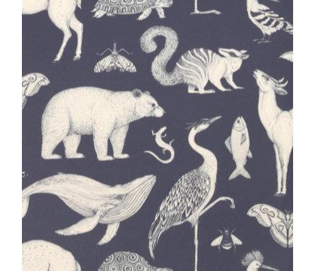 Ferm Living Papier peint Katie Scott Animaux bleu foncé 10x0,53m