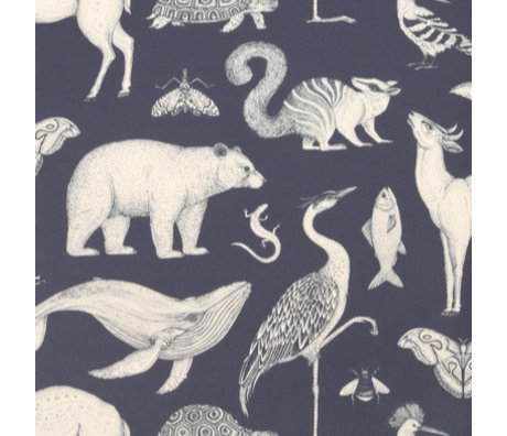 Ferm Living Wallpaper Katie Scott Animals dark blue 10x0,53m