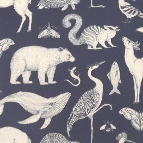 Ferm Living Wallpaper Katie Scott Animals dunkelblau 10x0,53m