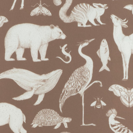 Ferm Living Papier peint Katie Scott Animaux Brun caramel 10x0,53m