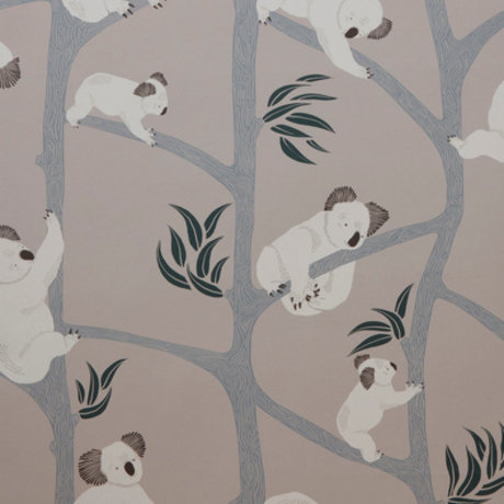 Ferm Living Papier peint Koala gris 10x0,53m