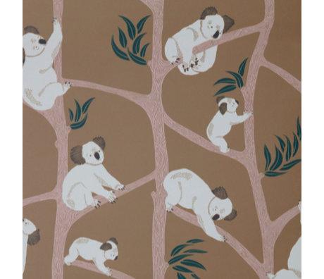 Ferm Living Papier peint Koala Moutarde jaune 10x0,53m