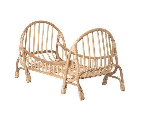 Ferm Living Poppenbed KUKU Doll Bed naturel bruin bamboe rotan 32x55x35cm