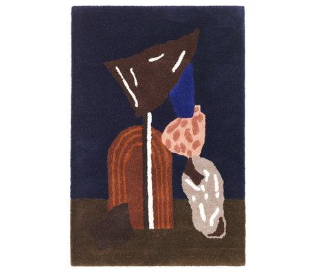 Ferm Living Vloerkleed / wandkleed  Bevy donker blauw katoen 110x70cm