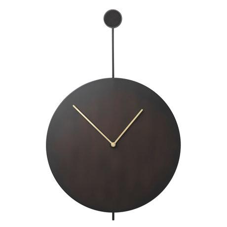 Ferm Living Wank Uhr Trace schwarz Gold Stahl 26x3x41,2cm