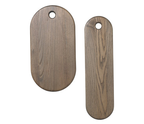 Ferm Living Breadboard Stage rustic gray wood set of 2