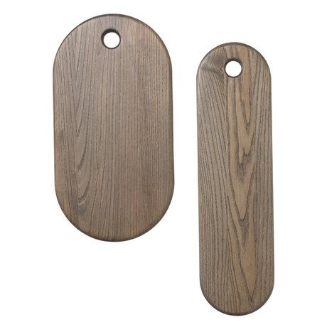 Ferm Living Breadboard Stage bois rustique gris lot de 2