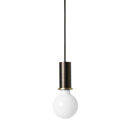 Ferm Living Socket Pendant Low zwart brass goud metaal 6x6x10,2cm