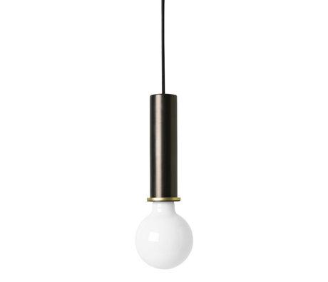 Ferm Living Socket Pendant High zwart brass goud metaal 6x6x17cm